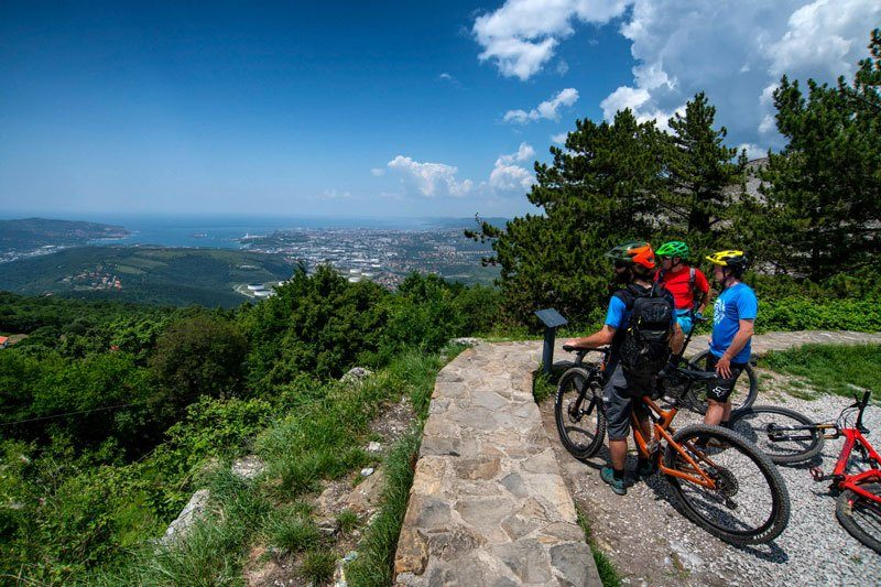 Trans Slovenia 4 mountain bikers at viewpoint