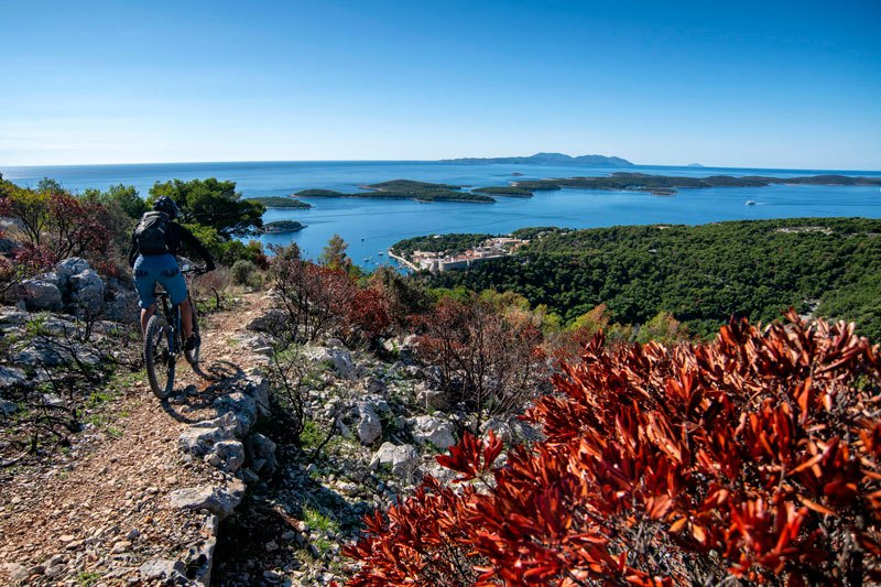 Trans Croatia island downhill with sea view